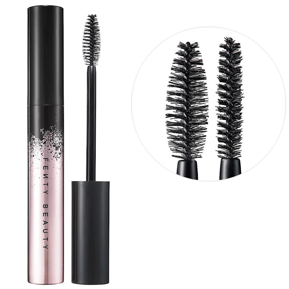 """<p>Skeptical that a single mascara can deliver all of your lash-enhancing needs? Swipe on <a href=""""https://www.popsugar.com/buy/Fenty-Beauty-Full-Frontal-Volume-Lift-amp-Curl-Mascara-544336?p_name=Fenty%20Beauty%20Full%20Frontal%20Volume%2C%20Lift%20%26amp%3B%20Curl%20Mascara&retailer=sephora.com&pid=544336&price=24&evar1=bella%3Aus&evar9=47139942&evar98=https%3A%2F%2Fwww.popsugar.com%2Fphoto-gallery%2F47139942%2Fimage%2F47139949%2FFenty-Beauty-Full-Frontal-Volume-Lift-Curl-Mascara&prop13=api&pdata=1"""" rel=""""nofollow"""" data-shoppable-link=""""1"""" target=""""_blank"""" class=""""ga-track"""" data-ga-category=""""Related"""" data-ga-label=""""http://www.sephora.com/product/fenty-beauty-rihanna-full-frontal-volume-lift-curl-mascara-P45432919"""" data-ga-action=""""In-Line Links"""">Fenty Beauty Full Frontal Volume, Lift &amp; Curl Mascara</a> ($24), and you'll become a true believer. Its multitasking wand has a flat side to define and curl and a fat side to lift and add volume. So whether your makeup goal is to separate, define, lengthen, curl, or plump, this is the one that does it all.</p>"""