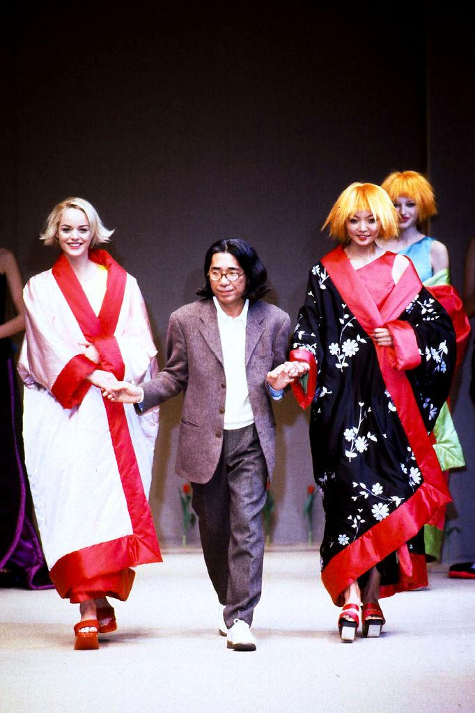 PARIS, FRANCE - MARCH 25: Fashion designer Kenzo Takada walks the runway at the Kenzo Ready to Wear Fall/Winter 1996 fashion show during Paris Fashion Week on March 25, 1996 in Paris, France. (Photo by Victor VIRGILE/Gamma-Rapho via Getty Images)