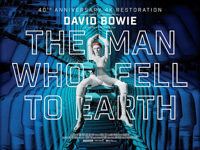 The Man Who Fell To Earth, poster, British poster for 2016 4k restoration and re-release, David Bowie, 1976. (Photo by LMPC via Getty Images)