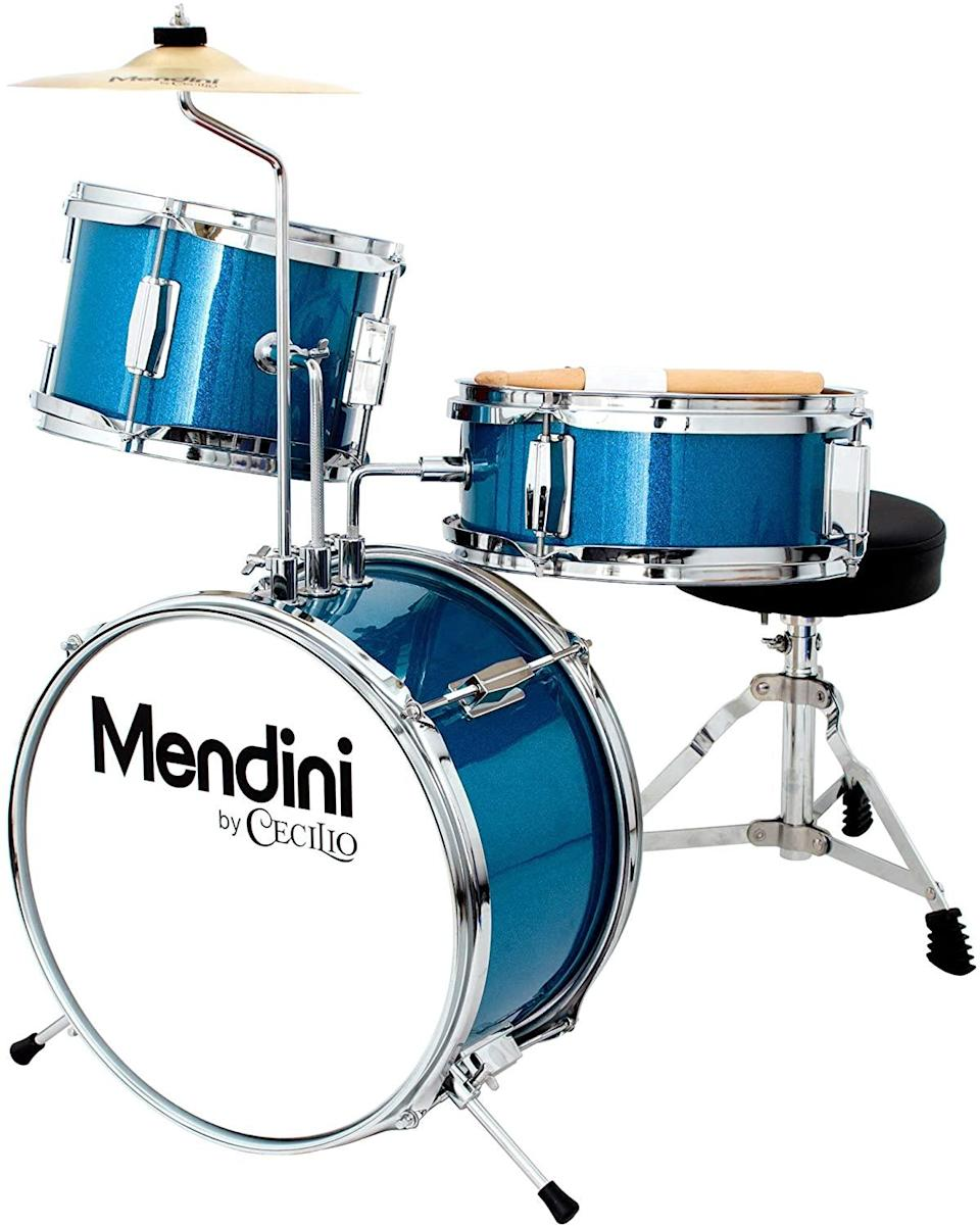 """<h2>Mendini by Cecilio Three-Piece Kids' Drum Set</h2><br>Nuture Junior's musical talent for a song (get it?) with this affordable, pint-sized drum kit.<br><br><strong>Mendini by Cecilio</strong> Three-Piece Kids' Drum Set, $, available at <a href=""""https://www.amazon.com/dp/B00FS13BUC"""" rel=""""nofollow noopener"""" target=""""_blank"""" data-ylk=""""slk:Amazon"""" class=""""link rapid-noclick-resp"""">Amazon</a>"""