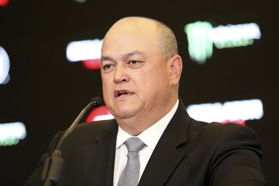 Bellator President Scott Coker speaks at a news conference promoting the Bellator Spring & Summer fight cards on Monday, March 9, 2020, in New York City. (AP Photo/Gregory Payan)