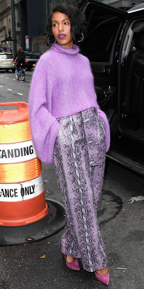 """<p>Kerry Washington showed us how to wear bright colors for fall in a Sally Lapointe bell-sleeve sweater ($850; <a href=""""https://click.linksynergy.com/deeplink?id=93xLBvPhAeE&mid=37508&murl=https%3A%2F%2Fwww.farfetch.com%2Fshopping%2Fwomen%2Fsally-lapointe-cropped-bell-sleeves-jumper-item-14473062.aspx&u1=IS%2CLOTD103119-Washington-Embed%2Ckchiello1271%2C%2CIMA%2C3493415%2C201910%2CI"""" target=""""_blank"""">farfetch.com</a>), python pants ($3,550; <a href=""""https://click.linksynergy.com/deeplink?id=93xLBvPhAeE&mid=24449&murl=https%3A%2F%2Fwww.net-a-porter.com%2Fus%2Fen%2Fproduct%2F1181527&u1=IS%2CLOTD103119-Washington-Embed%2Ckchiello1271%2C%2CIMA%2C3493415%2C201910%2CI"""" target=""""_blank"""">net-a-porter.com</a>), and suede pumps. Notice the matching lipstick.</p>"""
