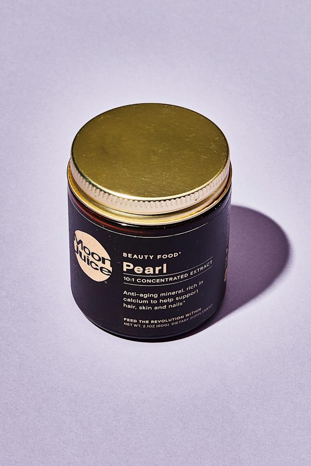 """<p><strong>The mask:</strong> At first, I assumed """"pearl"""" was a nickname. Consuming pearls sounded <em>too</em> opulent, even for Amanda Chantal Bacon. I was wrong: It's pure pearl extract, sourced from """"sustainable"""" freshwater farms and packing 340 mg of calcium per serving. Pearl powder has been used both as ingestible medicine and topical skincare in traditional Chinese medicine for centuries, so I go ahead and mix some into my moisturizer. After a week of use, my skin does seem to have a more even tone, but I'm not a fan of the chalky texture on my cheeks.</p> <p><strong>The taste:</strong> Moon Juicers are fond of mixing the powders into smoothies, which masks the taste entirely. Straight up, however, the pearl powder tasted like rancid ghee. The intense sour-sweet flavor turned my stomach and lingered in my throat. There's no way I could drink this straight.</p> <p><strong>I'm keeping it:</strong> in my tote bag to give to a friend. The effects of pearl powder are well-documented, but I have enough powders crowding my shelves. After all, my original goal was to pare down my routine.</p> <p><em>Buy it: <a href=""""https://moonjuice.com/products/pearl"""" rel=""""nofollow"""">Moon Juice Pearl Powder, $48.</a></em></p>"""