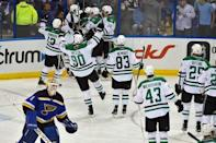 Dallas Stars teammates celebrate defeating the St. Louis Blues 3-2 in game four of the second round of the 2016 Stanley Cup Playoffs at Scottrade Center. Mandatory Credit: Jasen Vinlove-USA TODAY Sports