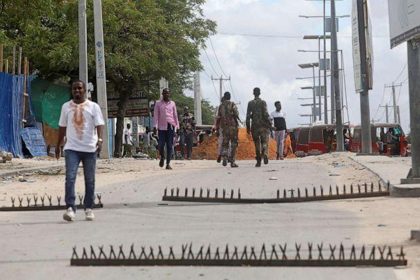 PHOTO: Metal spikes set up as barricades by Somali troops supporting opposition leaders are seen on a road near the KM4 junction in the Hodan district of Mogadishu, Somalia, on April 26, 2021. (Feisal Omar/Reuters)
