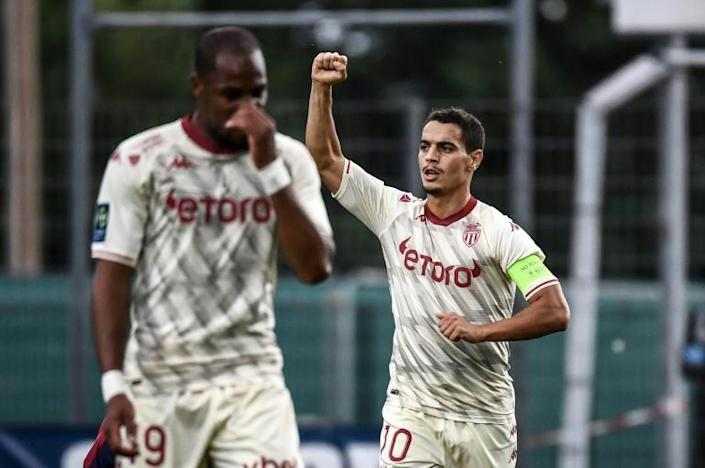 Wissam Ben Yedder (R) has scored four times in his past three games for Monaco (AFP/JEFF PACHOUD)