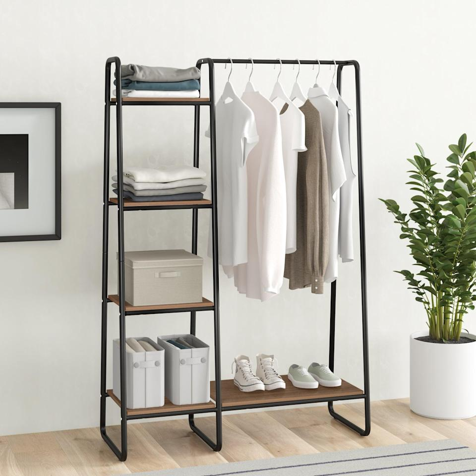 """<br><br><strong>Dotted Line</strong> Dillon 39.8"""" W Garment Rack, $, available at <a href=""""https://go.skimresources.com/?id=30283X879131&url=https%3A%2F%2Ffave.co%2F3aUscR9"""" rel=""""nofollow noopener"""" target=""""_blank"""" data-ylk=""""slk:Wayfair"""" class=""""link rapid-noclick-resp"""">Wayfair</a>"""