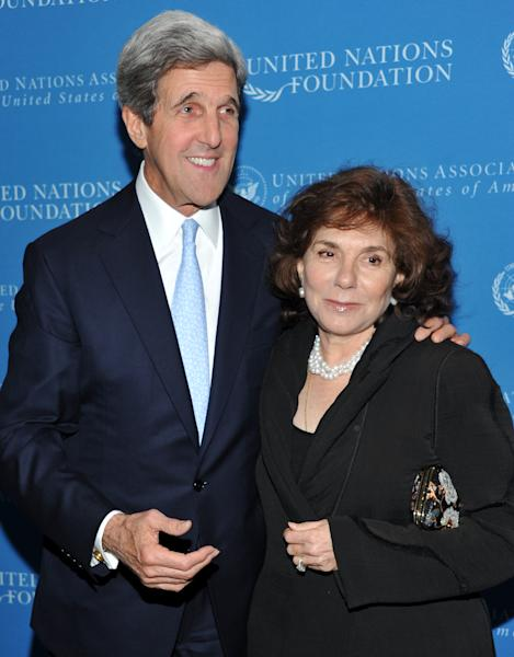 FILE - In a Nov. 18, 2010 file photo, Sen. John Kerry and wife Teresa Heinz Kerry attend the United Nations Foundation Annual Leadership Dinner at the Waldorf-Astoria Hotel in New York. A hospital spokesman says Teresa Heinz Kerry, the wife of U.S. Secretary of State John Kerry, is hospitalized Sunday, July 7, 2013 in critical but stable condition in a hospital on the island of Nantucket, Mass. (AP Photo/Evan Agostini, File)