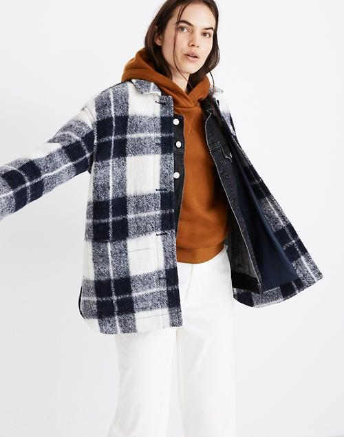 <p>This <span>Madewell Walton Shirt-Jacket</span> ($228) is made with fuzzy brushed bouclé from Italy.</p>