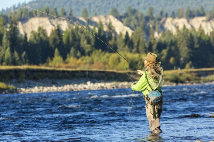 "<span class=""caption"">Stream temperature affects the survival of fish like salmon and trout.</span> <span class=""attribution""><a class=""link rapid-noclick-resp"" href=""https://www.gettyimages.com/detail/news-photo/fly-fisherwoman-casting-and-fishing-british-colombia-canada-news-photo/1277721026"" rel=""nofollow noopener"" target=""_blank"" data-ylk=""slk:Peter Adams/Avalon/Universal Images Group via Getty Images"">Peter Adams/Avalon/Universal Images Group via Getty Images</a></span>"