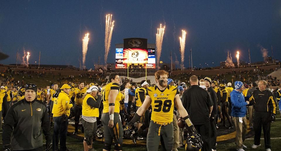 Fireworks explode as players congratulated each other after Missouri defeated Kentucky 20-10 during an NCAA college football game Saturday, Nov. 1, 2014, in Columbia, Mo. (AP Photo/L.G. Patterson)