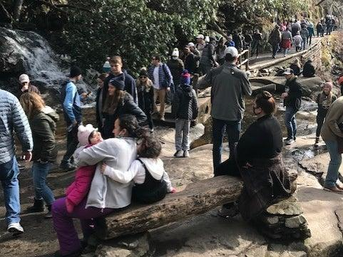 Long lines at Laurel Falls in the Great Smoky Mountains National Park in January 2021 (National Parks Service)
