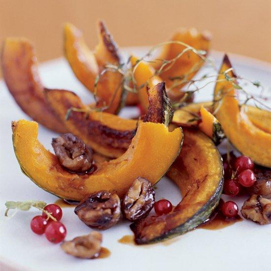 """<p>A drizzle of tangy pomegranate molasses gives a punch of flavor to this oven-roasted squash.</p><p><a href=""""https://www.foodandwine.com/recipes/roasted-squash-with-chestnuts-and-pomegranate"""">GO TO RECIPE</a></p>"""
