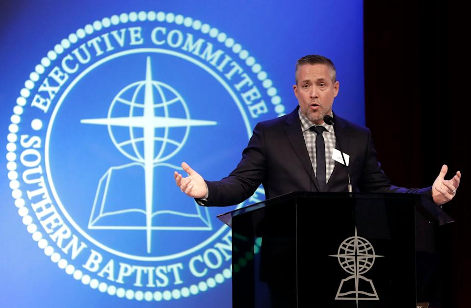 Southern Baptist Convention President J.D. Greear speaks to the denomination's executive committee in Nashville, Tennessee, on February 18, 2019. (Photo: Mark Humphrey/Associated Press)