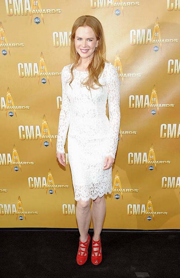 """Speaking of country catastrophes, Nicole Kidman looked extremely brittle at the 44th Annual CMA Awards in this doily-like Dolce & Gabbana disaster, which she paired with clunky L'Wren Scott heels. Michael Loccisano/<a href=""""http://www.wireimage.com"""" target=""""new"""">WireImage.com</a> - November 10, 2010"""