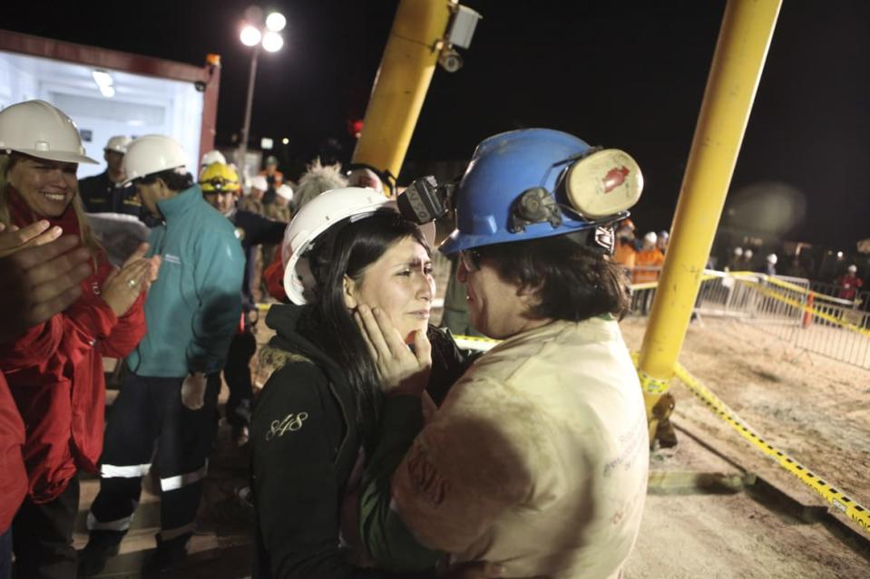 "<div class=""inline-image__caption""><p>Miner Osman Araya hugs his wife after arriving as the sixth miner to be hoisted to the surface in Copiapo October 13, 2010. Chile's 33 trapped miners are set to travel nearly half a mile through solid rock in a shaft just wider than a man's shoulders on Tuesday night, as their two month ordeal after a cave-in draws to an end.</p></div> <div class=""inline-image__credit"">Hugo Infante-Government of Chile/Reuters</div>"