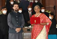 The Union Minister for Finance and Corporate Affairs, Smt. Nirmala Sitharaman along with the Minister of State for Finance and Corporate Affairs, Shri Anurag Singh Thakur arrives at Parliament House to present the General Budget 2021-22, in New Delhi on February 01, 2021.