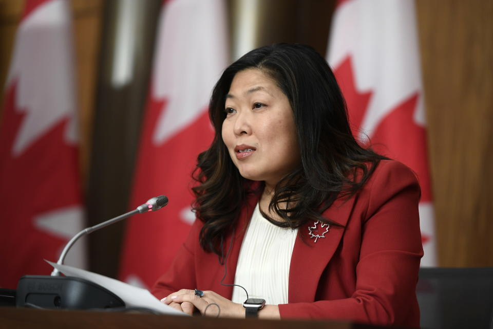 Minister of International Trade Mary Ng participates in a news conference on the Canada-United Kingdom Trade Continuity Agreement in Ottawa, on Saturday, Nov. 21, 2020. The U.K. signed an interim trade deal with Canada on Saturday, the second major agreement the country has reached as negotiators hurry to cement trading relationships in preparation for life outside the European Union. (Justin Tang/The Canadian Press via AP)