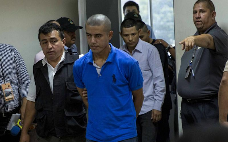 Franklin Jarquin (C) attends a court hearing in Managua, Nicaragua, 25 April 2017. A group of evangelicals were charged with the abduction and murder of 25-year-old Vilma Trujillo Garcia, who got burns in 60 percent of her body while participating in a religious ritual to get her demons out at a community in Rosita, northeast of Managua, Nicaragua, according to media reports - Credit: epa