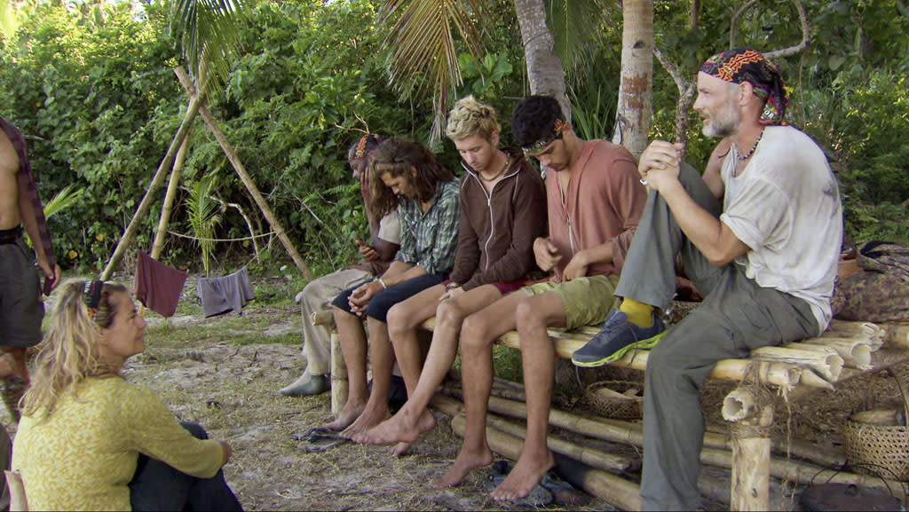 "Lisa Whelchel, Artis Silvester, Malcolm Freberg, Carter Williams, Peter ""Pete"" Yurkowski and Michael Skupin in the ""Survivor: Philippines"" episode, ""Little Miss Perfect."""