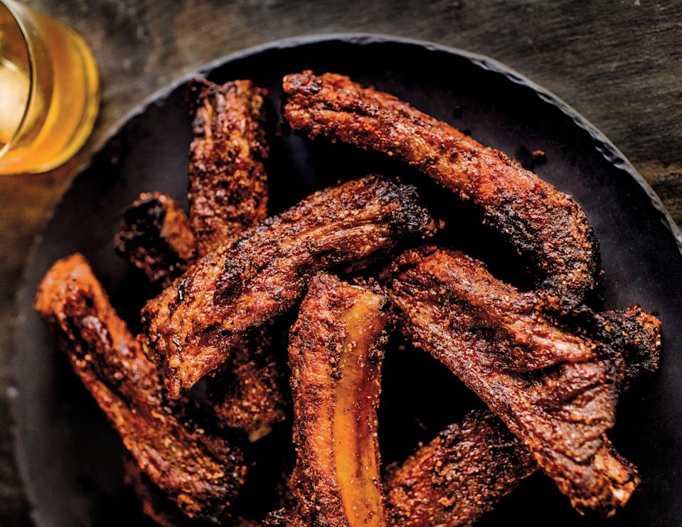 """<a href=""""https://www.epicurious.com/expert-advice/what-is-the-best-air-fryer-review-article?mbid=synd_yahoo_rss"""" rel=""""nofollow noopener"""" target=""""_blank"""" data-ylk=""""slk:Air fryers"""" class=""""link rapid-noclick-resp"""">Air fryers</a> really took off in 2020, and this was our most popular recipe for using the countertop appliance. The spice rub on these ribs ensures a crunchy, caramelized exterior. <a href=""""https://www.epicurious.com/recipes/food/views/air-fryer-memphis-style-bbq-pork-ribs?mbid=synd_yahoo_rss"""" rel=""""nofollow noopener"""" target=""""_blank"""" data-ylk=""""slk:See recipe."""" class=""""link rapid-noclick-resp"""">See recipe.</a>"""