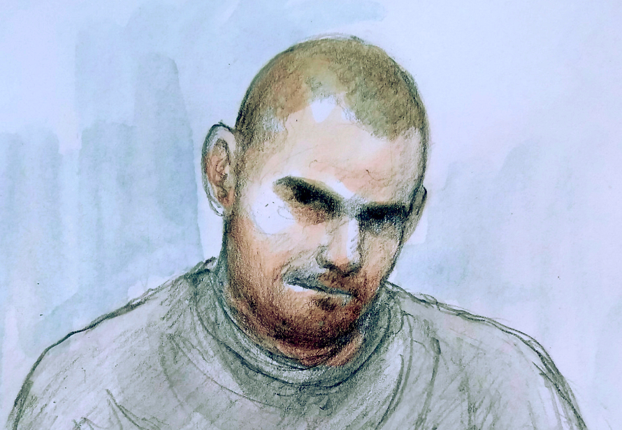 Damien Bendall appeared via video-link sitting on a chair and wearing a grey sweater and jogging bottoms, spoke only to confirm his name, date of birth, and his address as Chandos Cresce (SWNS)