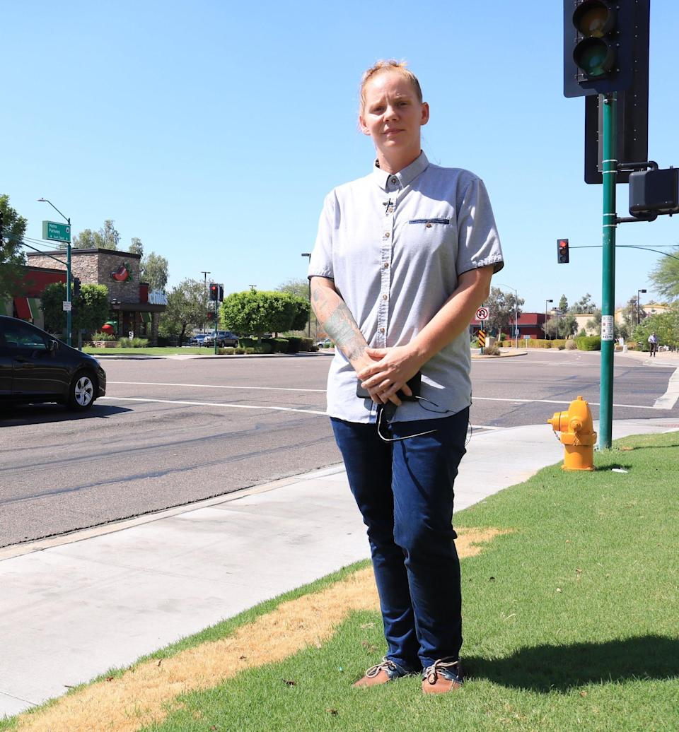 """Meagan Hunter says she was denied a promotion because she didn't dress in a """"gender appropriate"""" way. (Photo: ACLU of Arizona)"""