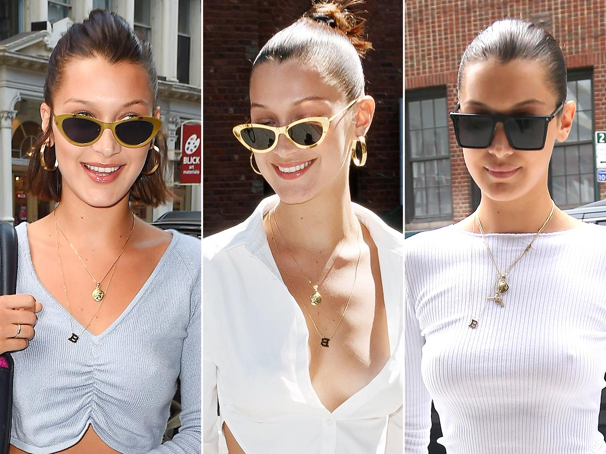 "<p>Bella Hadid doesn't leave the house without two things — a pair of statement sunnies and her <a rel=""nofollow"">""B"" initial pendant necklace</a>. <b>Look for Less:</b> Anthropologie monogram pendant necklace, $38; <a rel=""nofollow"">anthropologie.com</a></p>"
