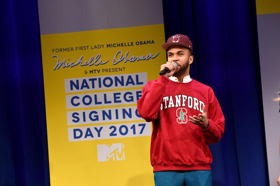 NEW YORK, NY - MAY 05:  Recording artist Jidenna speaks onstage during MTV's 2017 College Signing Day With Michelle Obama at The Public Theater on May 5, 2017 in New York City.  (Photo by Bryan Bedder/Getty Images for MTV)