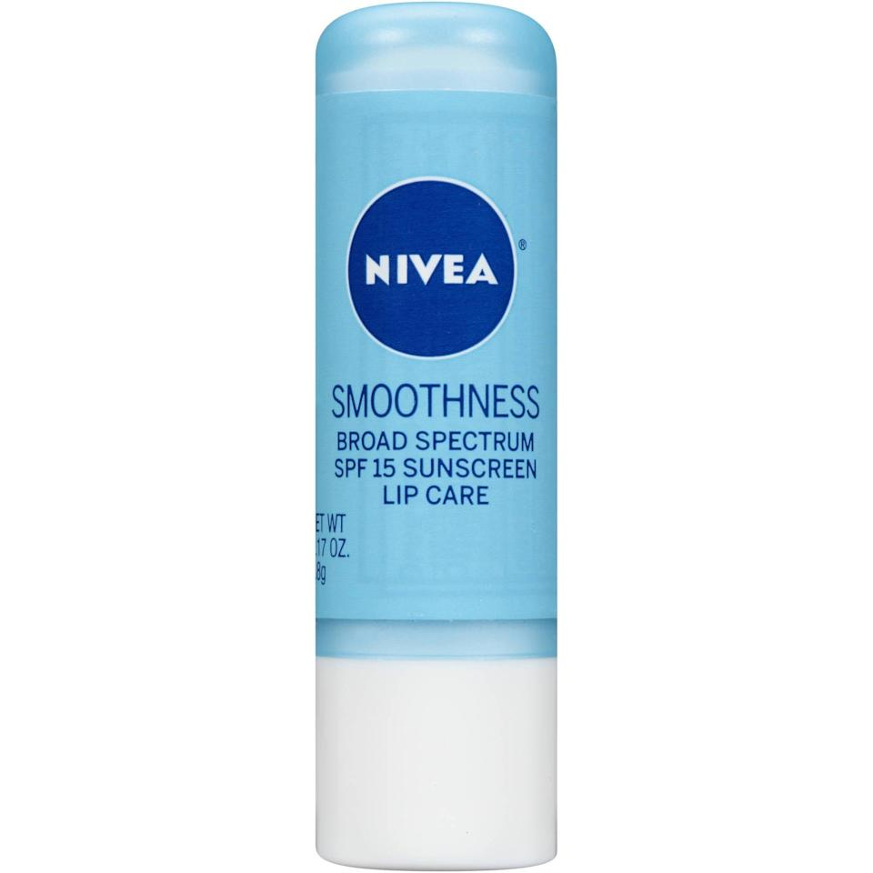 """<p>""""<span>Nivea Smoothness Lip Care</span> ($5) is not sticky or shiny (good for guys, too!) and it has SPF. It used to only be available in Europe and I would bring lots of tubes back every time I was there."""" - AF</p>"""