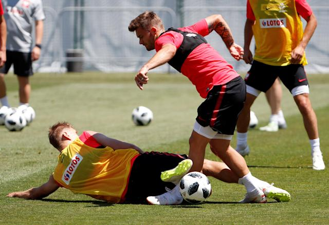 Soccer Football - World Cup - Poland Training - Sochi, Russia - June 20, 2018 Poland's Lukasz Teodorczyk and Karol Linetty during training REUTERS/Francois Lenoir