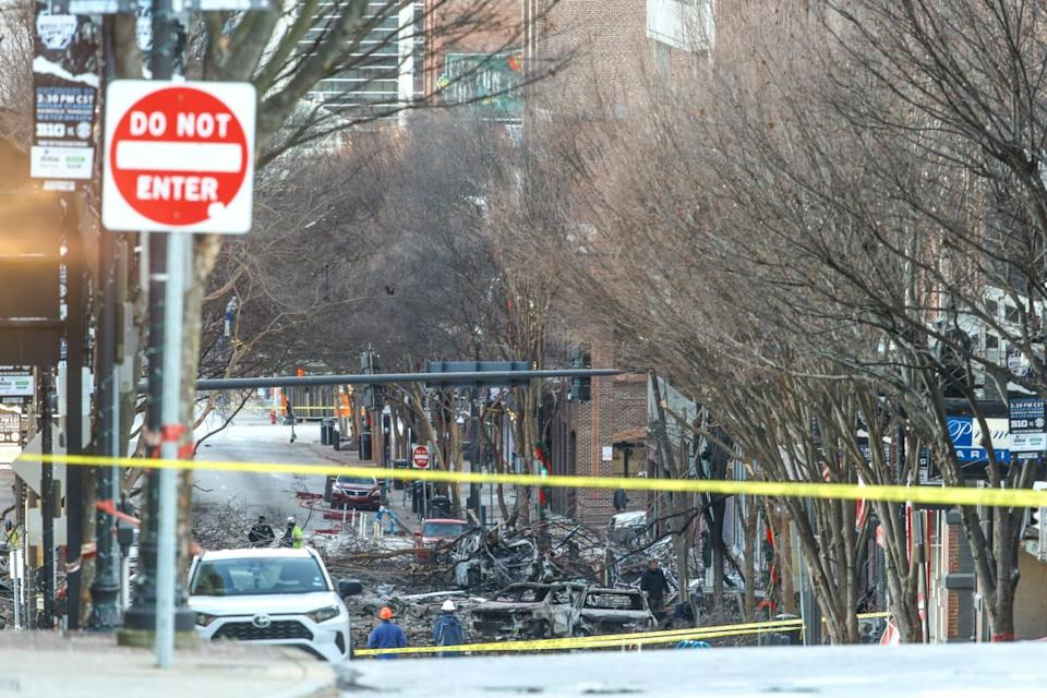 """<div class=""""inline-image__title"""">1293095507</div> <div class=""""inline-image__caption""""><p>""""NASHVILLE, TENNESSEE - DECEMBER 25: Police close off an area damaged by an explosion on Christmas morning on December 25, 2020 in Nashville, Tennessee. A Hazardous Devices Unit was en route to check on a recreational vehicle which then exploded, extensively damaging some nearby buildings. According to reports, the police believe the explosion to be intentional, with at least 3 injured and human remains found in the vicinity of the explosion. (Photo by Terry Wyatt/Getty Images)""""</p></div> <div class=""""inline-image__credit"""">Terry Wyatt</div>"""