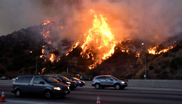 A wildfire burns near the Getty Center along the 405 freeway north of Los Angeles on Oct. 28. REUTERS/ Gene Blevins