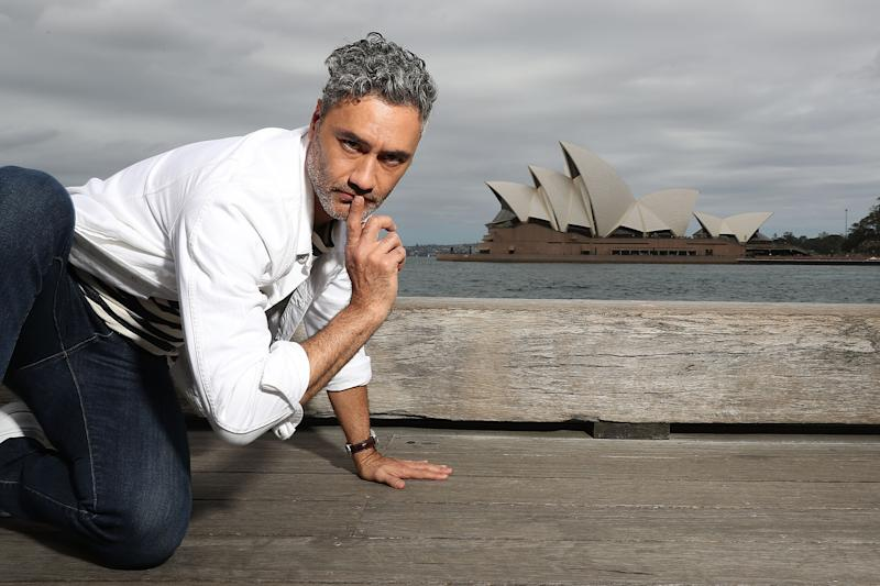 Taika Waititi poses in front of the iconic Sydney Opera House, he is in town to promote his new film Thor: Ragnarok.