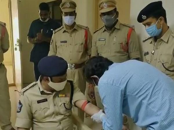 Antibody testing event held for police officials in Andhra Pradesh on Friday. Photo/ANI