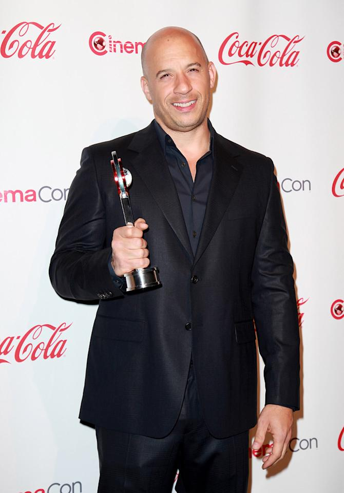 """<a href=""""http://movies.yahoo.com/movie/contributor/1800020716"""">Vin Diesel</a>, recipient of the Action Star of the Year award, arrives at the 2011 CinemaCon awards in Las Vegas, Nevada on March 31, 2011."""