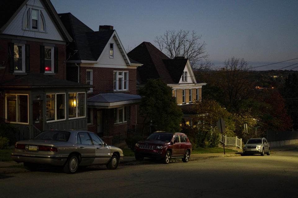 A neighborhood at dusk in Greensburg, Pa., Oct. 22, 2020. (Ruth Fremson/The New York Times)