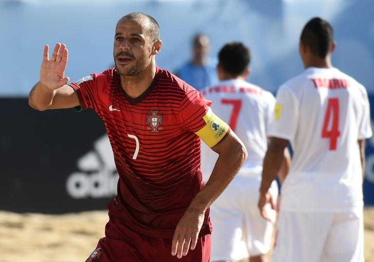 Portugal's Madjer celebrates after scoring a goal during a FIFA Beach Soccer World Cup match in Espinho, in 2015