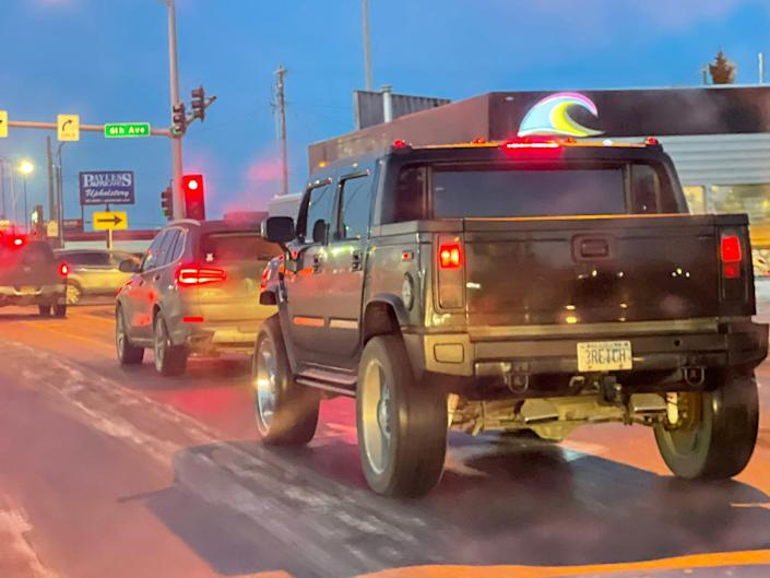 """Matt Tunseth spotted a black Hummer driving in downtown Anchorage with the license plate """"3REICH."""""""