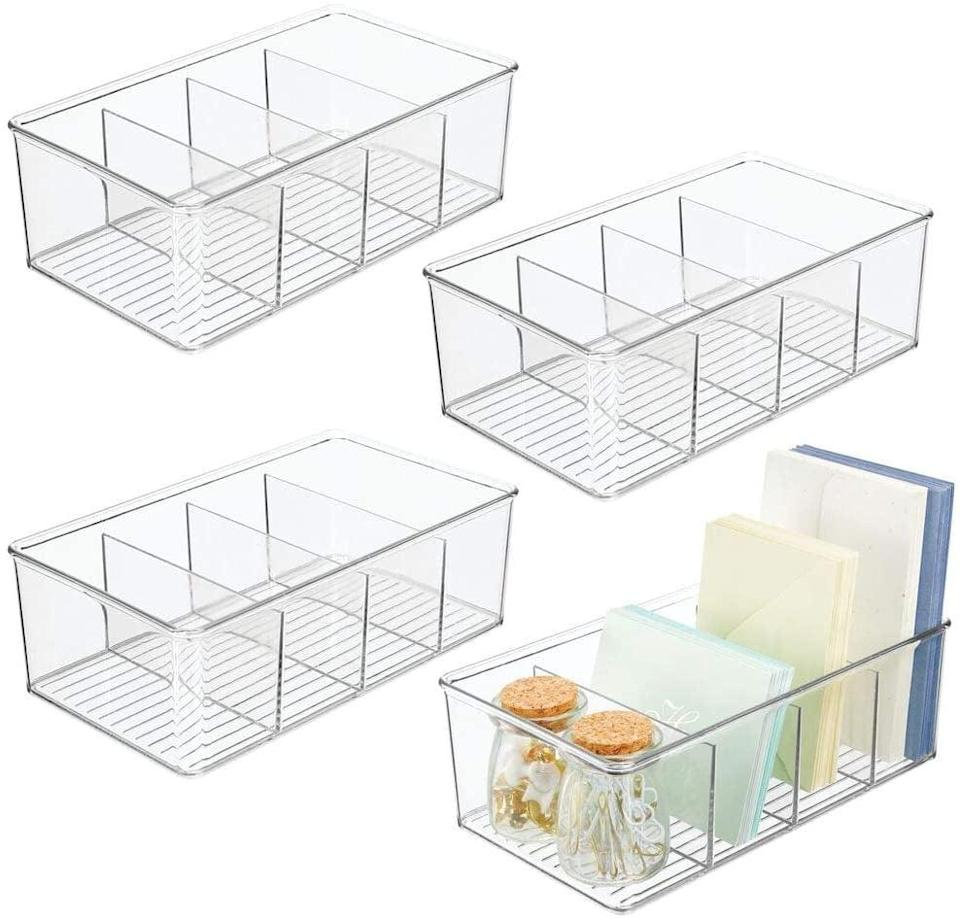 <p>Store your period products, cotton balls and Q-tips, hair ties and bobby pins and more with these <span>mDesign Plastic Office Storage Organizer Bin Box - 4 Divided Sections 4 Pack</span> ($30).</p>