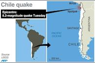 Map locating the epicentre of an 8.2-magnitude earthquake near Chile's Pacific coast on Tuesday