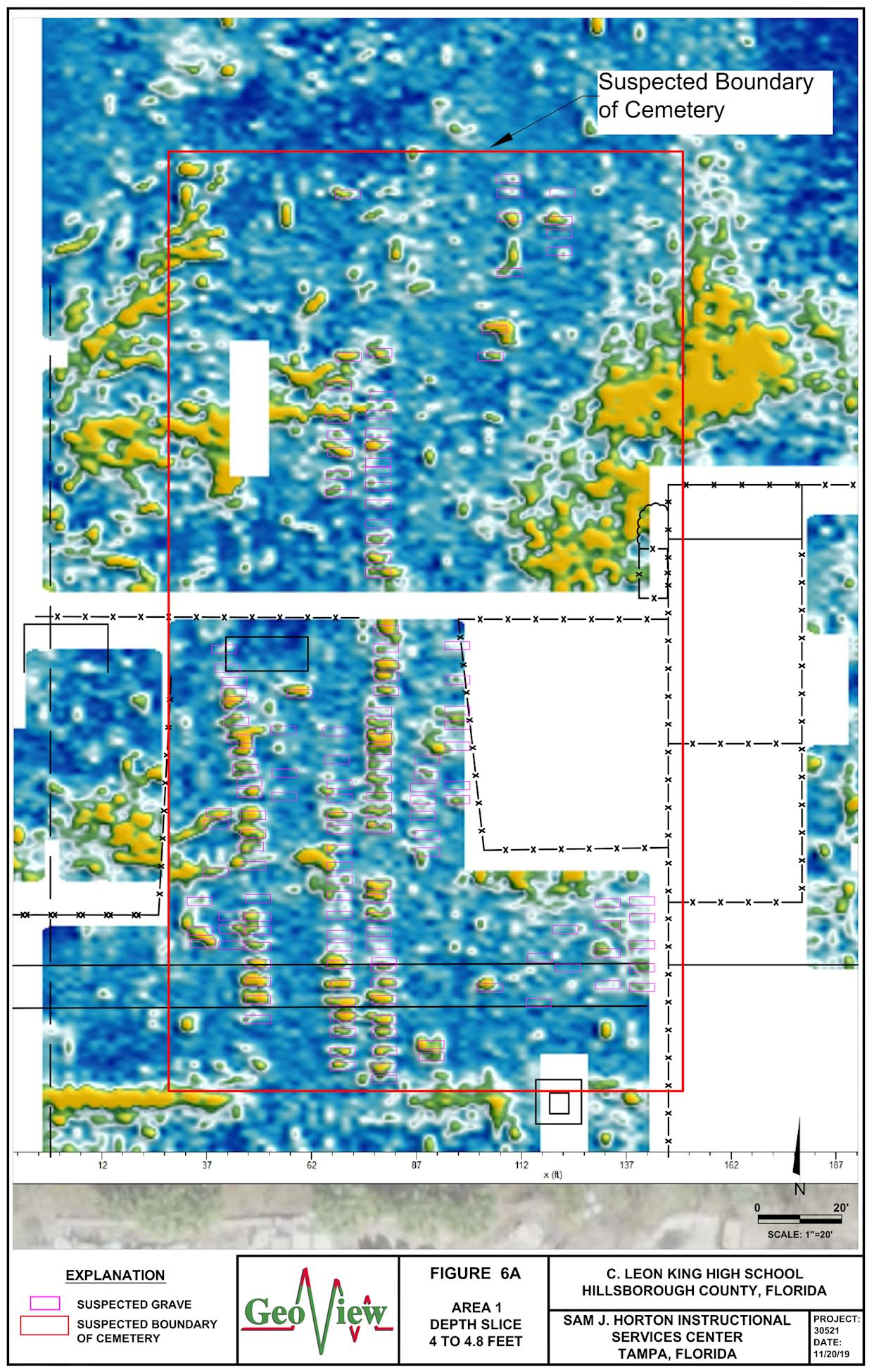 Results from the GeoView ground penetrating radar technology that located 145 graves on the grounds of King High school in Tampa, Fla.