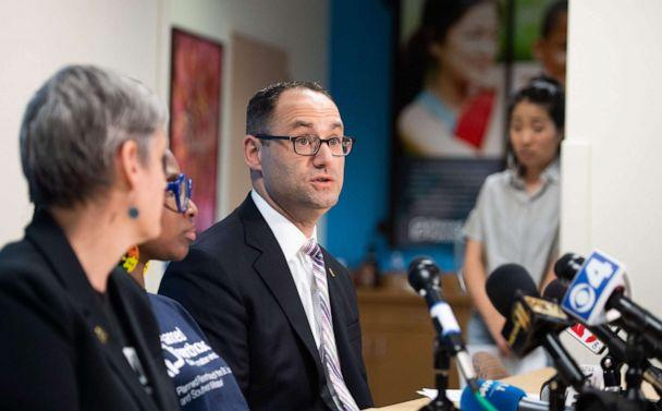 PHOTO: David Eisenberg, medical director for Planned Parenthood of the St. Louis Region, speaks during a press conference at the Planned Parenthood Reproductive Health Services Center in St. Louis, May 31, 2019. (Saul Loeb/AFP/Getty Images, FILE)