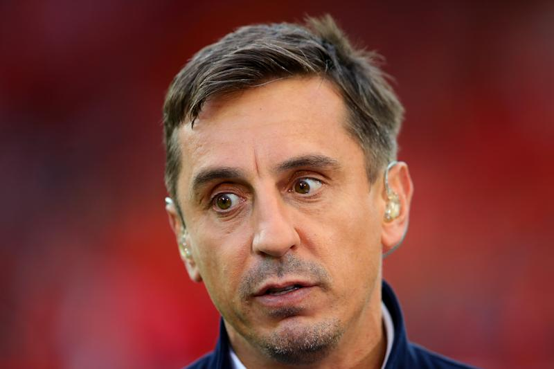 LIVERPOOL, ENGLAND - AUGUST 09: Gary Neville looks on during the Premier League match between Liverpool FC and Norwich City at Anfield on August 09, 2019 in Liverpool, United Kingdom. (Photo by Chris Brunskill/Fantasista/Getty Images)