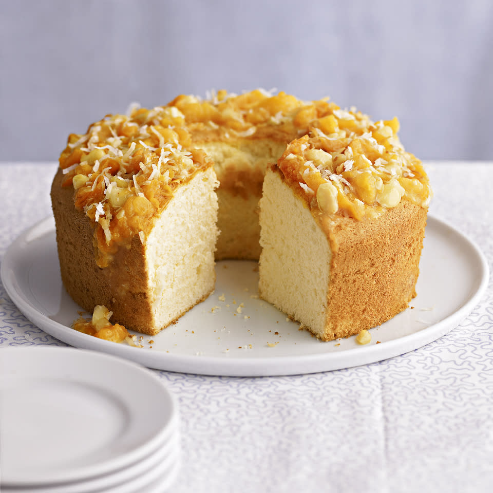 "<p>You'll think you're on a tropical vacation after just one taste of this pineapple-flavored cake served with a sweet apricot and macadamia nut topping. <a href=""http://www.eatingwell.com/recipe/263077/pineapple-cake-with-macadamia-apricot-topper/"" rel=""nofollow noopener"" target=""_blank"" data-ylk=""slk:View recipe"" class=""link rapid-noclick-resp""> View recipe </a></p>"