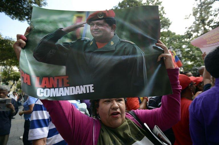 Supporters of Venezuelan President Hugo Chavez gather at Simon Bolivar Square in Caracas on February 18, 2013