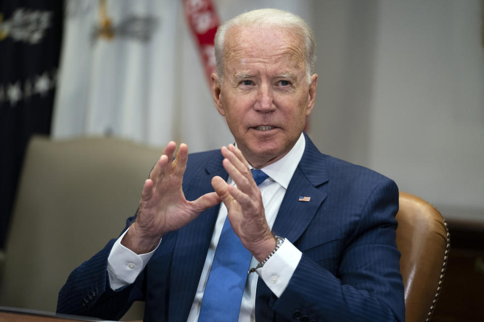 President Joe Biden speaks during a meeting on reducing gun violence, in the Roosevelt Room of the White House, Monday, July 12, 2021, in Washington. (AP Photo/Evan Vucci)