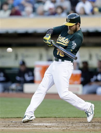 Oakland Athletics' Josh Reddick grounds out against the Chicago White Sox during the third inning of a baseball game, Friday, May 31, 2013, in Oakland, Calif. (AP Photo/Marcio Jose Sanchez)