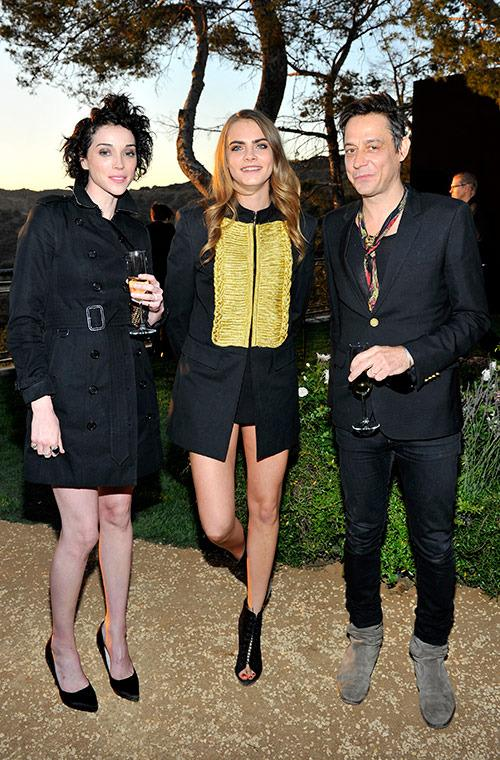 "Delevingne played up her British roots with a Sgt Pepper-inspired coat while hanging out with Clark and Jamie Hince (aka Mr Kate Moss) at Burberry's ""London in Los Angeles"" presentation."