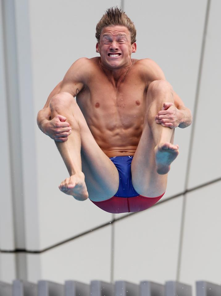 Chris Colwill of the US competes in the Men's 1m Springboard event, at the FINA 2011 Swimming Championships in Shanghai, China, Saturday, July 16, 2011.  (AP Photo/Wong Maye-E)